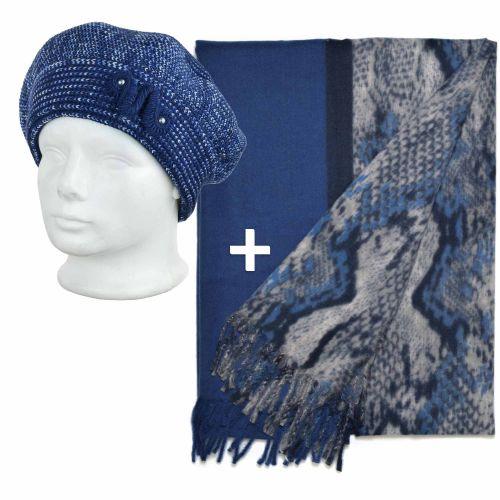Kornélia sapka két színű sállal Kék