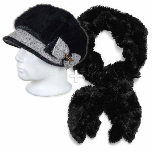 Elena sapka fekete szőrmés sállal