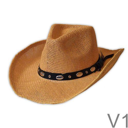 Természetes alapanyagból készült lyukacsos szerkezetű western kalap.
