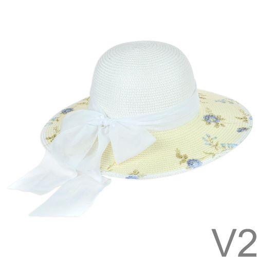 Nagyon szép nyári kalap hozzá illő selyem szalaggal.