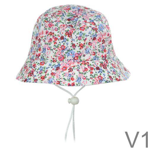 Kellemes pamutvászon anyagból készült vödör stílusú virág mintás cuki nyári kalap.