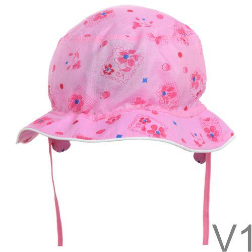 Mintás kislány kalap megkötővel
