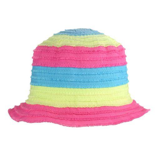 Hangulatos, vidám trendi színekkel készült nyári kalap.