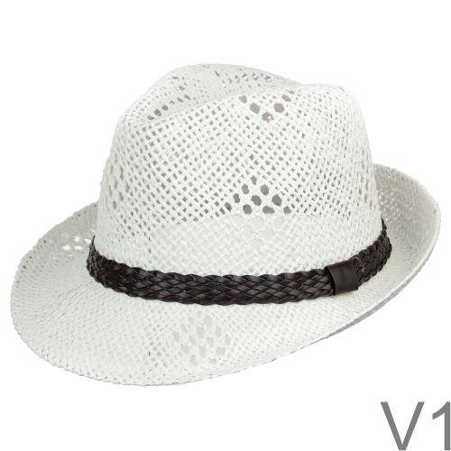 Elegáns, jó tartású kedvelt nyári kalap, bőr öves díszítéssel.